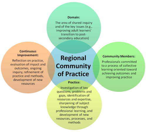 "Venn Diagram with four circles overlapping one central circle labeled ""Regional Community of Practice"" ; each of surrounding four circles labeled ""Domain,"" ""Continuous Improvement,"" ""Community Members,"" and ""Practice"""